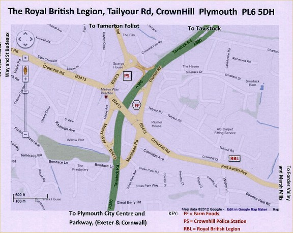 Directions To Royal British Legion Crownhill Plymouth